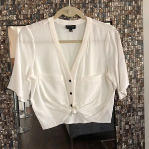 Cropped Short Sleeve Blouse
